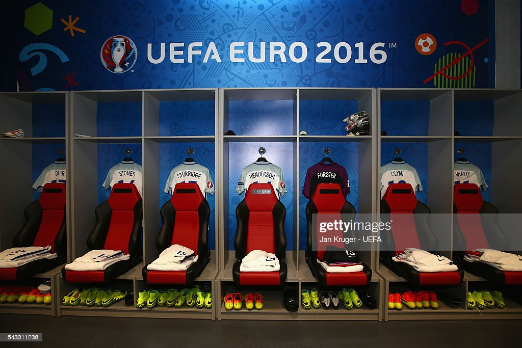 The shirts worn by England players are hung in the dressing room prior to the UEFA EURO 2016 round of 16 match between England and Iceland at Allianz Riviera Stadium on June 27, 2016 in Nice, France.