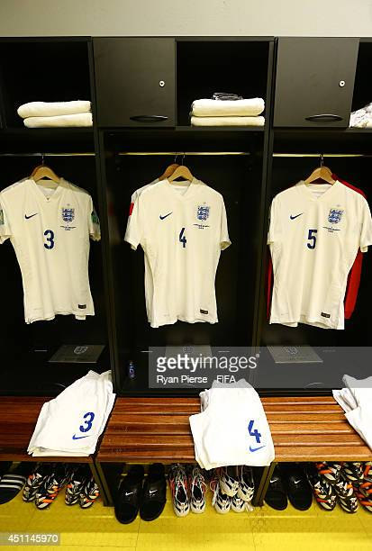 The shirts worn by England players hang in the dressing room prior to the 2014 FIFA World Cup Brazil Group D match between Costa Rica and England at...