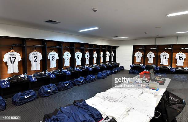 The shirts worn by France players hang in the dressing room prior to the 2014 FIFA World Cup Brazil Group E match between Switzerland and France at...