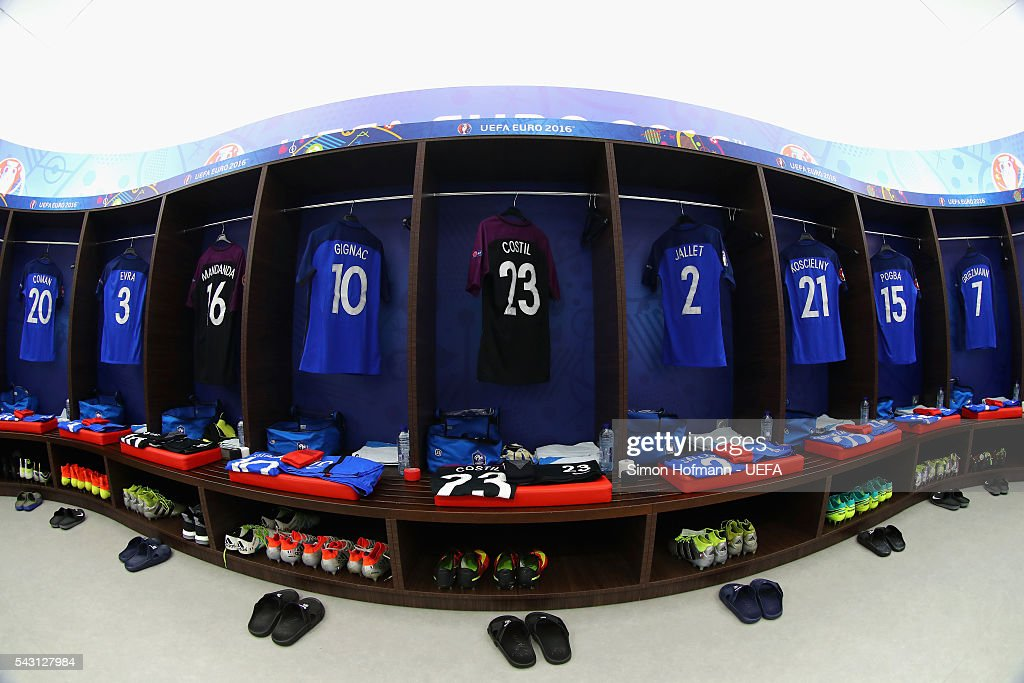 The shirts worn by French players are hung in the dressing room prior to the UEFA EURO 2016 round of 16 match between France and Republic of Ireland at Stade des Lumieres on June 26, 2016 in Lyon, France.