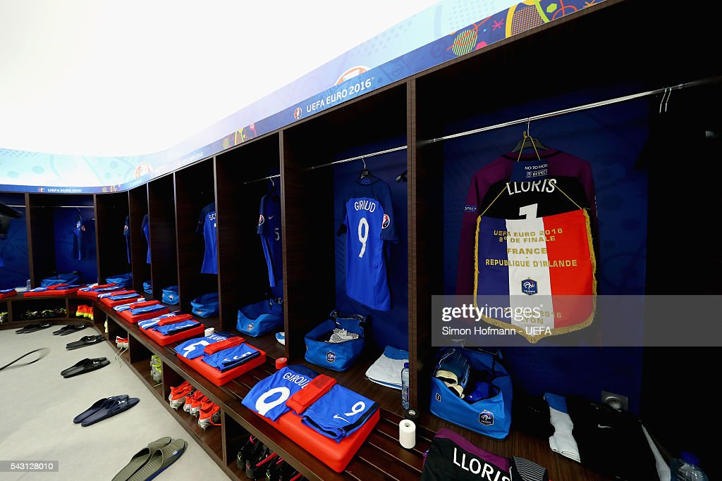 The shirts worn by Hugo Lloris of France is hung with the matchday pennant in the dressing room prior to the UEFA EURO 2016 round of 16 match between France and Republic of Ireland at Stade des Lumieres on June 26, 2016 in Lyon, France.