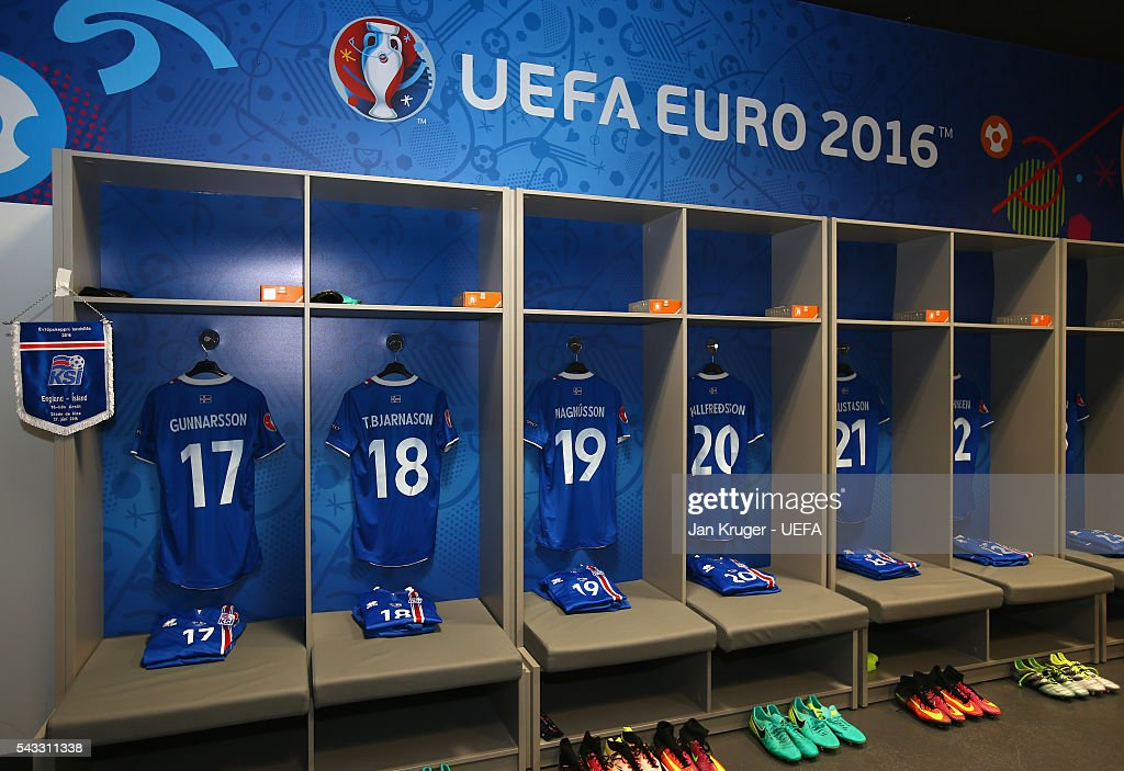 The shirts worn by Iceland players are hung in the dressing room prior to the UEFA EURO 2016 round of 16 match between England and Iceland at Allianz Riviera Stadium on June 27, 2016 in Nice, France.