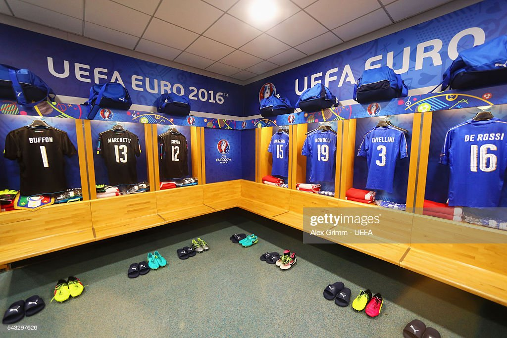 The shirts worn by Italy players are hung in the dressing room prior to the UEFA EURO 2016 round of 16 match between Italy and Spain at Stade de France on June 27, 2016 in Paris, France.