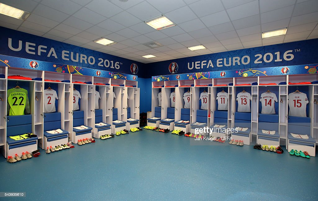 The shirts worn by Poland players are hung in the dressing room prior to the UEFA EURO 2016 quarter final match between Poland and Portugal at Stade Velodrome on June 30, 2016 in Marseille, France.