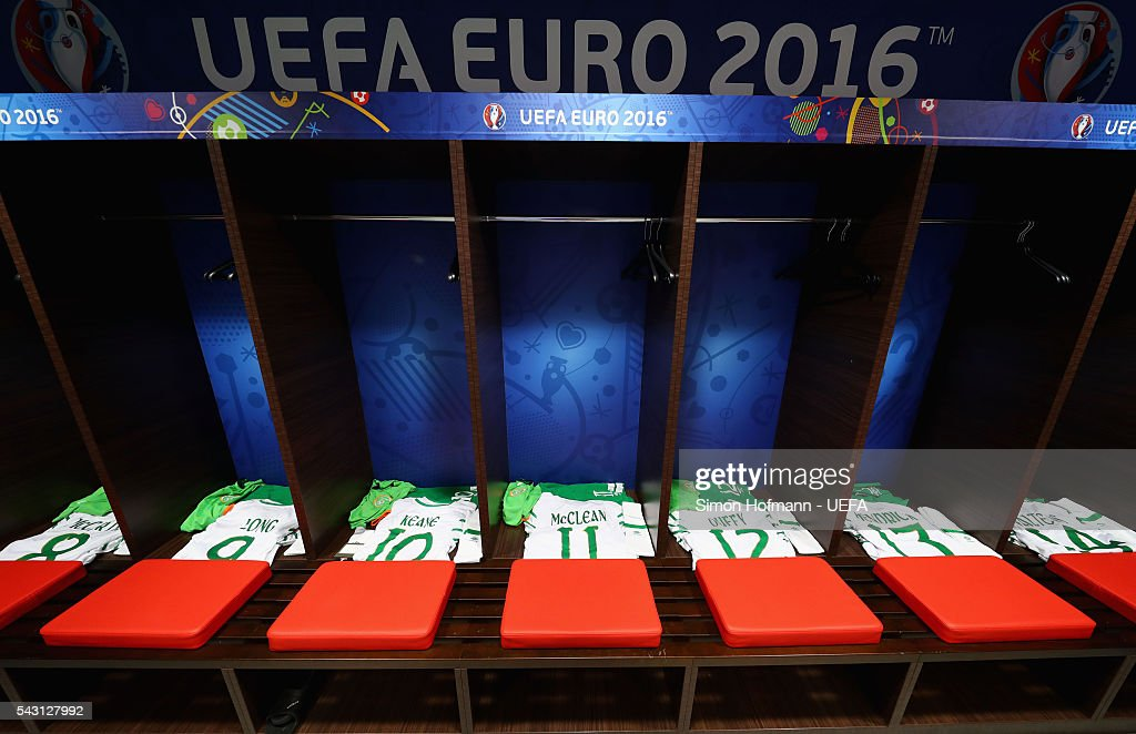 The shirts worn by Republic of Ireland players are seen in the dressing room prior to the UEFA EURO 2016 round of 16 match between France and Republic of Ireland at Stade des Lumieres on June 26, 2016 in Lyon, France.