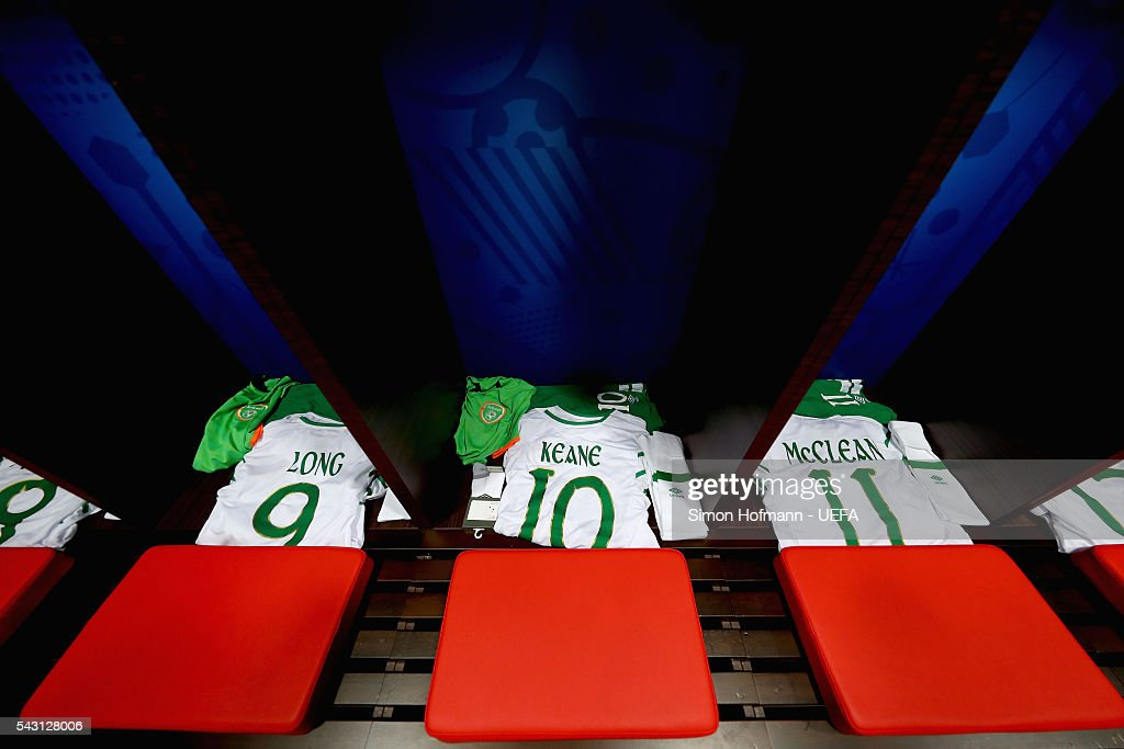 The shirts worn by Shane Long, Robbie Keane and James McClean of Republic of Ireland are seen in the dressing room prior to the UEFA EURO 2016 round of 16 match between France and Republic of Ireland at Stade des Lumieres on June 26, 2016 in Lyon, France.