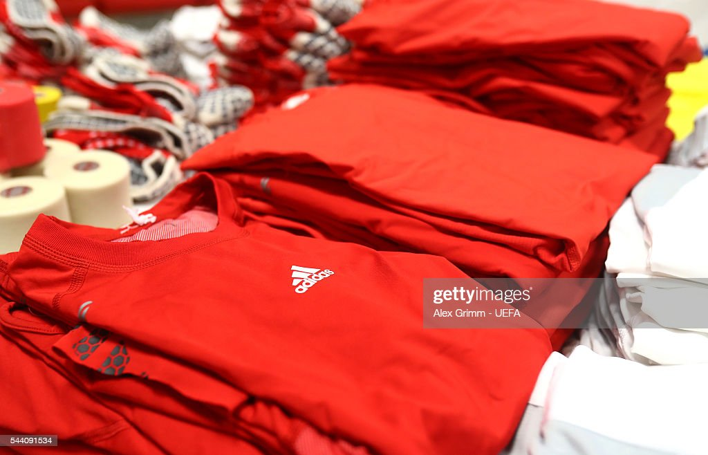 The shirts worn by Wales players are seen in the dressing room prior to the UEFA EURO 2016 quarter final match between Wales and Belgium at Stade Pierre-Mauroy on July 1, 2016 in Lille, France.