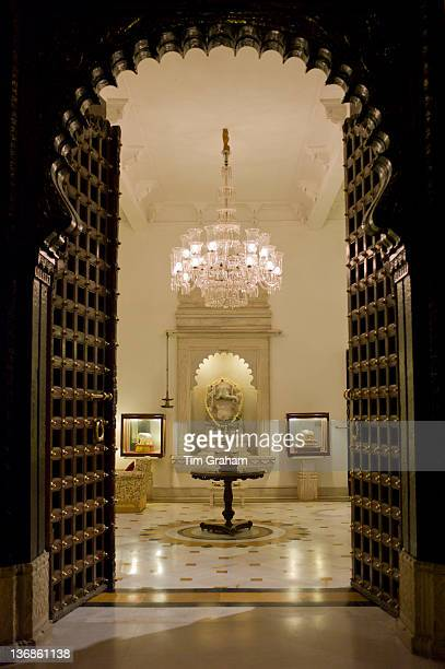 The Shiv Niwas Palace Hotel doorway and lobby part of HRH Hotels Group in the City Palace Complex in Udaipur Rajasthan India