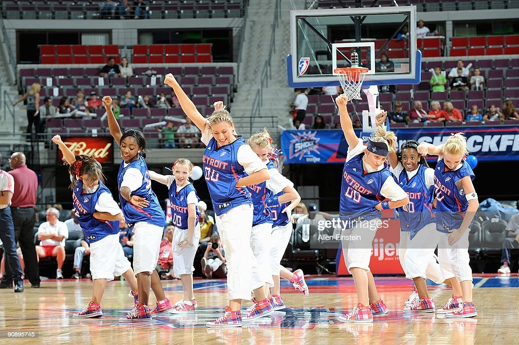 The Shockwave Dance Team performs during the WNBA game between the New York Liberty and the Detroit Shock on September 10, 2009 at The Palace of Auburn Hills in Auburn Hills, Michigan. The Shock won in overtime 94-87.