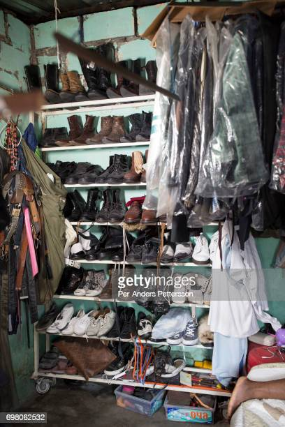 The shoe collection of Khaditoza Gola the leader of the Leopard Sapeurs in his home on February 12 2017 in Kinshasa DRC The word Sapeur comes from...