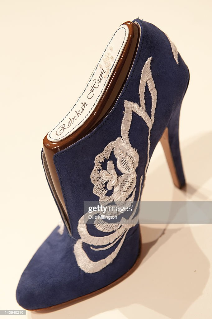 The shoe made from a design by De Montfort University footwear student Becka Hunt that Catherine, Duchess of Cambridge picked from a selection of others to be made into a shoe for her during the royal visit to Leicester on the first date of Queen Elizabeth II's Diamond Jubilee tour of the UK on March 8, 2012 in Leicester, England.