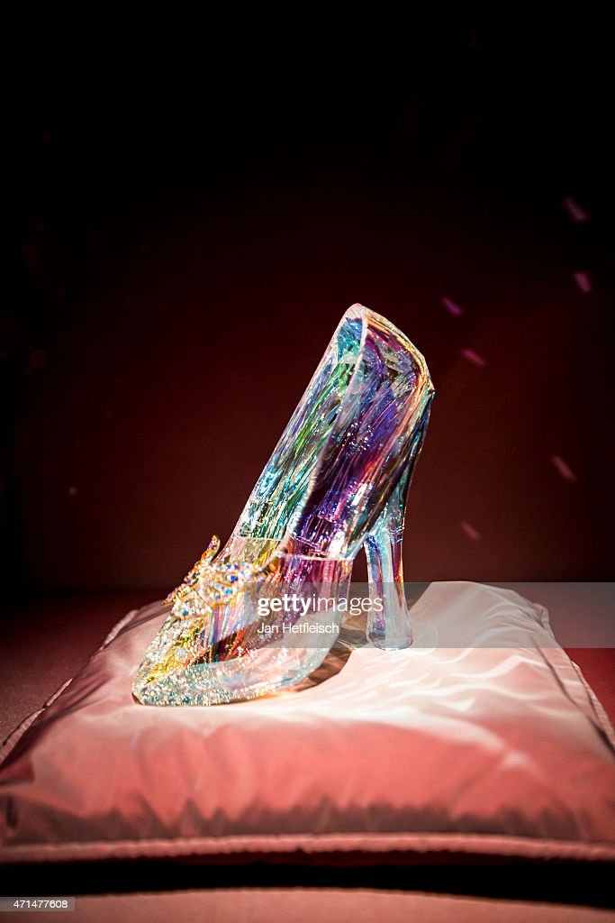 The shoe made of glas of the movie 'Cinderella 2015' is seen at the Swarovski Crystal Worlds inside the 'Giant' during the grand reopening on April...