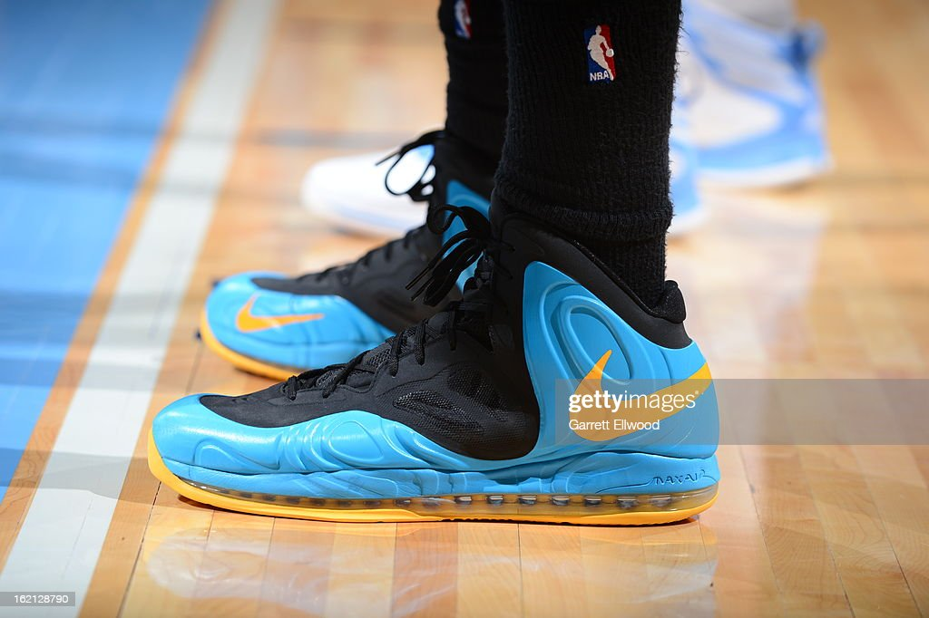 The shoe of Anthony Davis #23 of the New Orleans Hornets during the game against the Denver Nuggets on February 1, 2013 at the Pepsi Center in Denver, Colorado.
