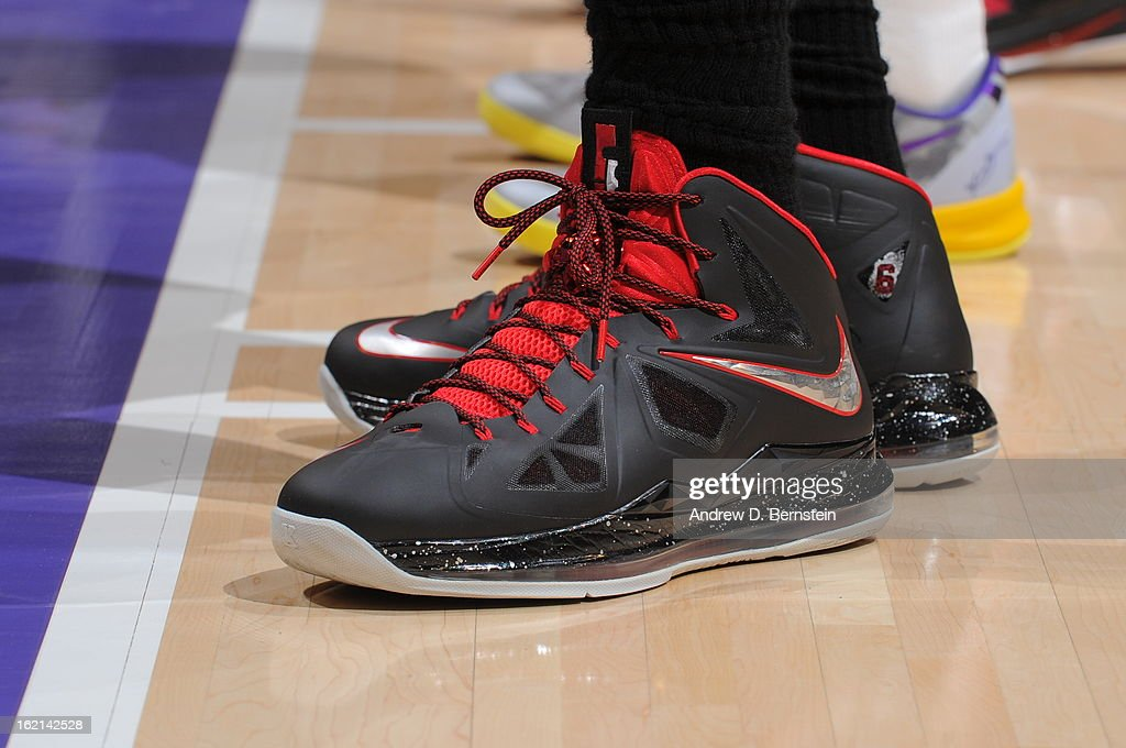 The shoe of <a gi-track='captionPersonalityLinkClicked' href=/galleries/search?phrase=LeBron+James&family=editorial&specificpeople=201474 ng-click='$event.stopPropagation()'>LeBron James</a> #6 of the Miami Heat during the game against the Los Angeles Lakers at Staples Center on January 17, 2013 in Los Angeles, California.