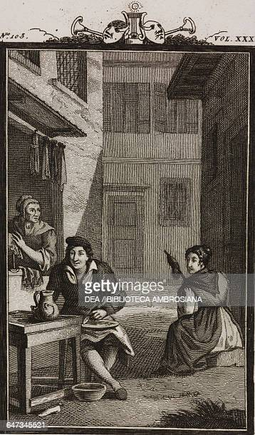 The shoemaker Crespino Giannina and Susanna engraving by Antonio Viviani from a drawing by G Steneri from The Fan Act III Scene 2 Comedies Volume 35...