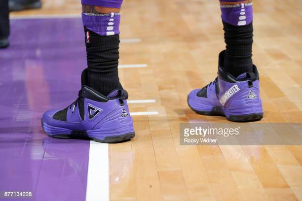 The shoes belonging George Hill of the Sacramento Kings in a game against the Portland Trail Blazers on November 17 2017 at Golden 1 Center in...