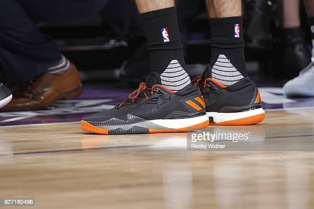 The shoes belonging to Alex Abrines of the Oklahoma City Thunder in a game against the Sacramento Kings on November 23 2016 at Golden 1 Center in...