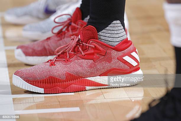 The shoes belonging to Allen Crabbe of the Portland Trail Blazers in a game against the Sacramento Kings on December 20 2016 at Golden 1 Center in...