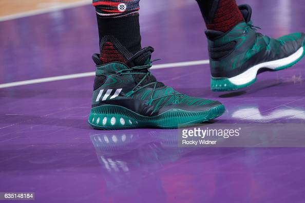 The shoes belonging to Amir Johnson of the Boston Celtics in a game against the Sacramento Kings on February 8 2017 at Golden 1 Center in Sacramento...