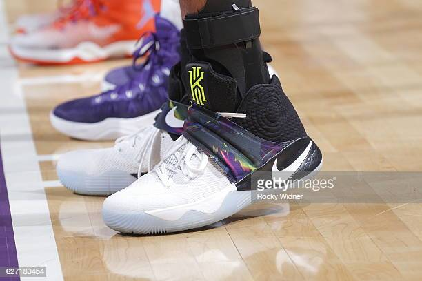 The shoes belonging to Andre Roberson of the Oklahoma City Thunder in a game against the Sacramento Kings on November 23 2016 at Golden 1 Center in...