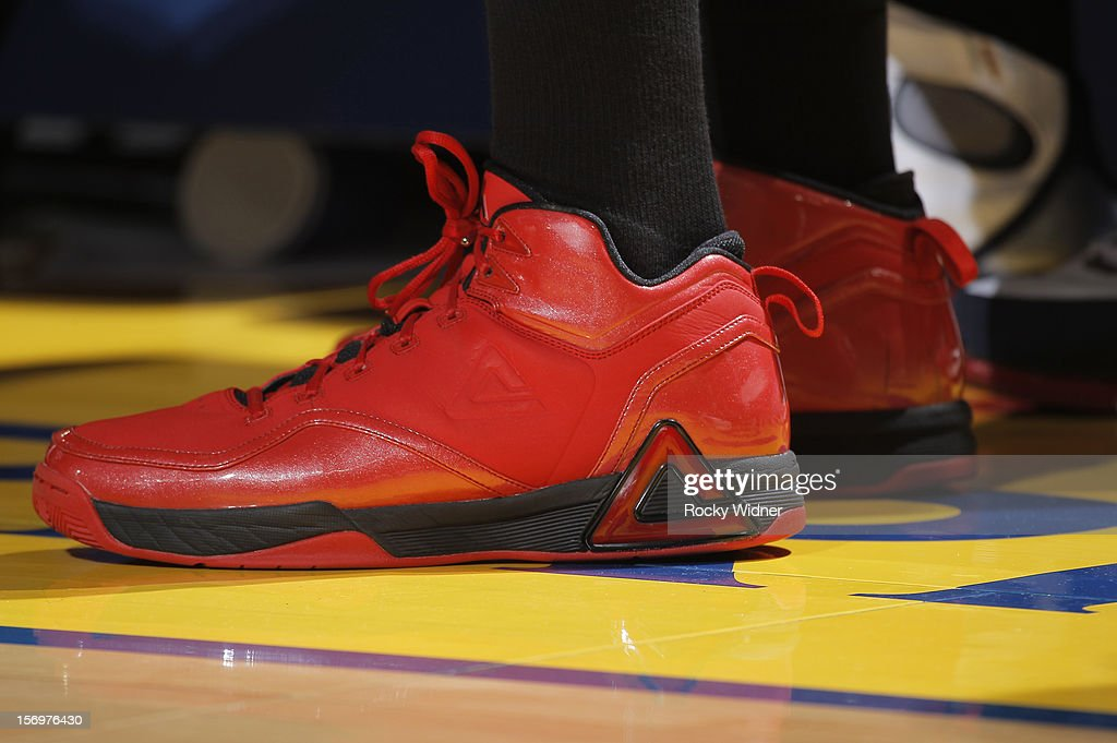 The shoes belonging to Anthony Morrow #22 of the Atlanta Hawks in a game against the Golden State Warriors on November 14, 2012 at Oracle Arena in Oakland, California.