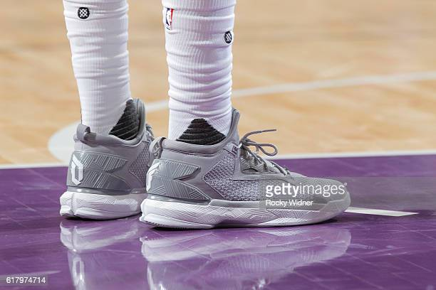 The shoes belonging to Ben McLemore of the Sacramento Kings in a game against the LA Clippers on October 18 2016 at Golden 1 Center in Sacramento...