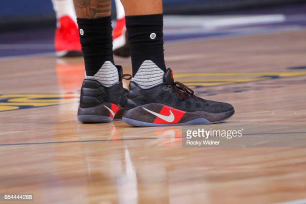 The shoes belonging to Bradley Beal of the Washington Wizards in a game against the Sacramento Kings on March 10 2017 at Golden 1 Center in...
