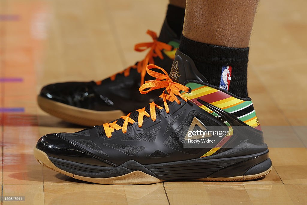 The shoes belonging to Carl Landry #7 of the Golden State Warriors in a game against the Los Angeles Clippers on January 21, 2013 at Oracle Arena in Oakland, California.