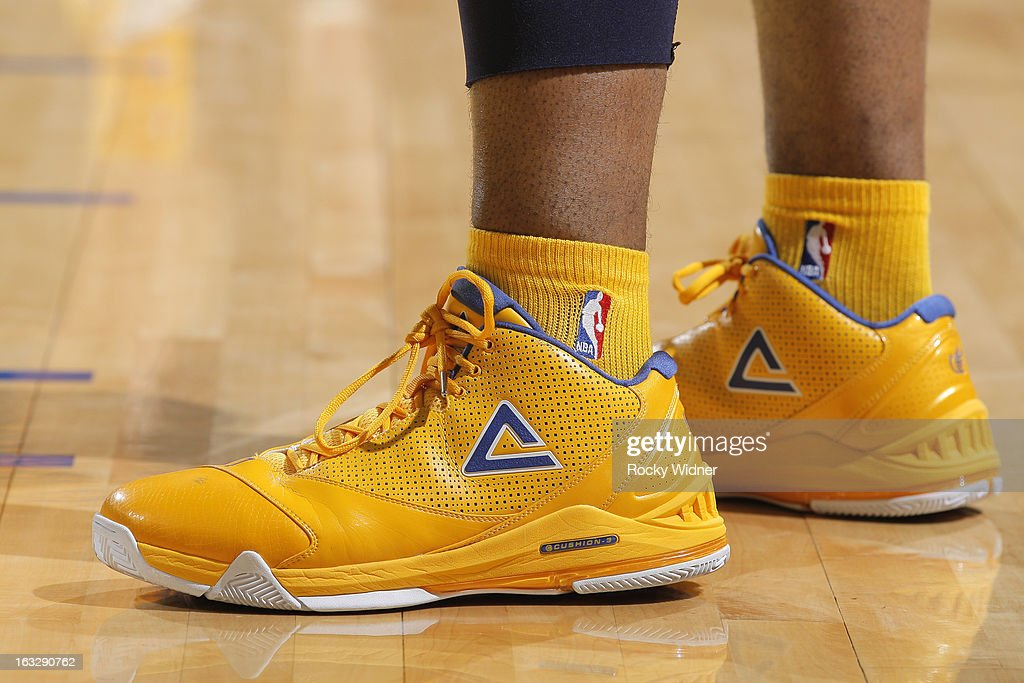 The shoes belonging to Carl Landry #7 of the Golden State Warriors in a game against the San Antonio Spurs on February 22, 2013 at Oracle Arena in Oakland, California.