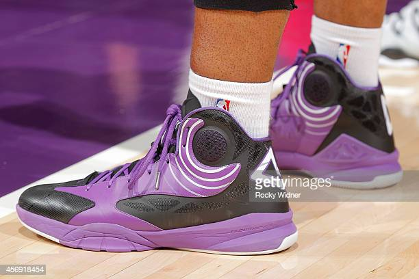 The shoes belonging to Carl Landry of the Sacramento Kings in a game against the Toronto Raptors on October 7 2014 at Sleep Train Arena in Sacramento...