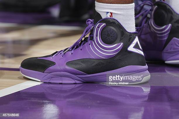 The shoes belonging to Carl Landry of the Sacramento Kings in a game against Maccabi Haifa on October 18 2014 at Sleep Train Arena in Sacramento...