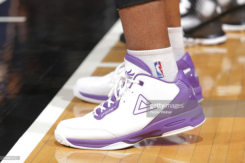 The shoes belonging to Carl Landry of the Sacramento Kings in a game against the Indiana Pacers on January 24 2014 at Sleep Train Arena in Sacramento...