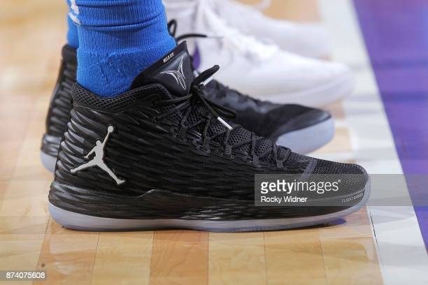 The shoes belonging to Carmelo Anthony of the Oklahoma City Thunder in a game against the Sacramento Kings on November 7 2017 at Golden 1 Center in...