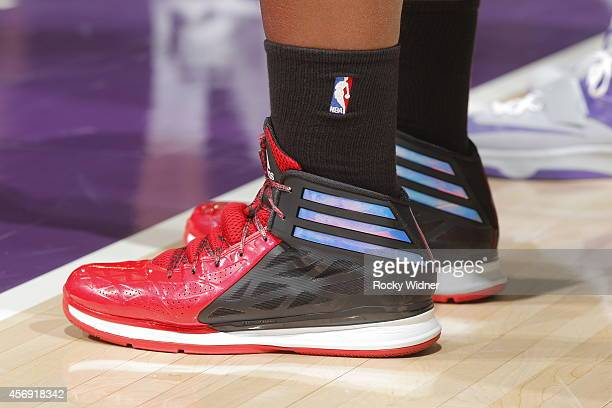 The shoes belonging to Chuck Hayes of the Toronto Raptors in a game against the Sacramento Kings on October 7 2014 at Sleep Train Arena in Sacramento...