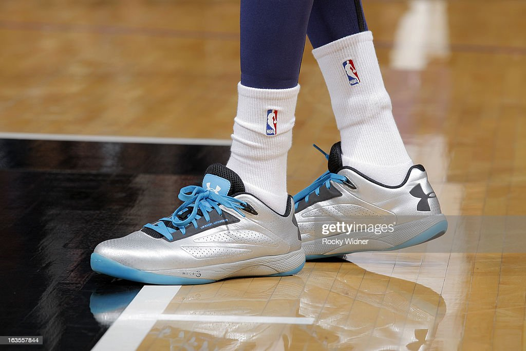 The shoes belonging to Corey Brewer #13 of the Denver Nuggets in a game against the Sacramento Kings on March 5, 2013 at Sleep Train Arena in Sacramento, California.