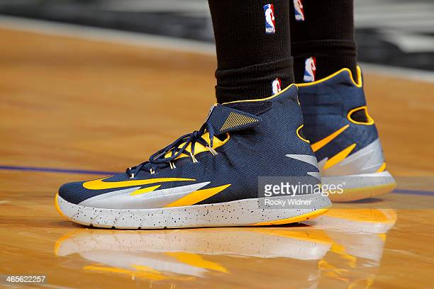 The shoes belonging to Danny Granger of the Indiana Pacers in a game against the Sacramento Kings on January 24 2014 at Sleep Train Arena in...