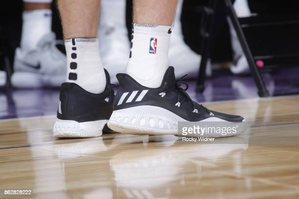 The shoes belonging to Davis Bertans of the San Antonio Spurs in a game against the Sacramento Kings on October 2 2017 at Golden 1 Center in...