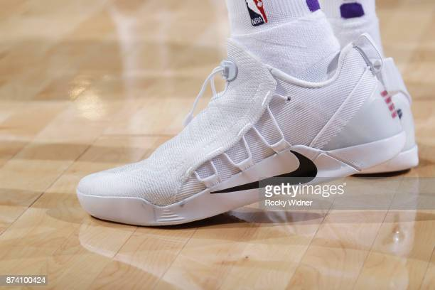 The shoes belonging to De'Aaron Fox of the Sacramento Kings in a game against the Philadelphia 76ers on November 9 2017 at Golden 1 Center in...