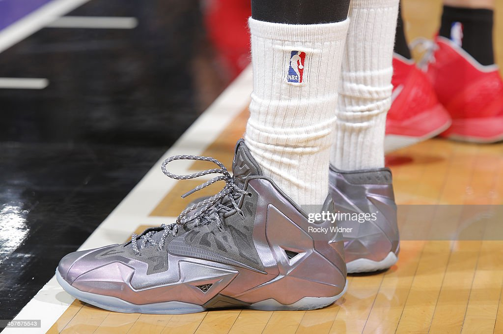 The shoes belonging to <a gi-track='captionPersonalityLinkClicked' href=/galleries/search?phrase=DeMarcus+Cousins&family=editorial&specificpeople=5792008 ng-click='$event.stopPropagation()'>DeMarcus Cousins</a> #15 of the Sacramento Kings in a game against the Houston Rockets on December 15, 2013 at Sleep Train Arena in Sacramento, California.
