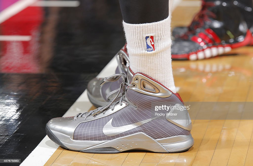 The shoes belonging to Derrick Williams #13 of the Sacramento Kings in a game against the Houston Rockets on December 15, 2013 at Sleep Train Arena in Sacramento, California.