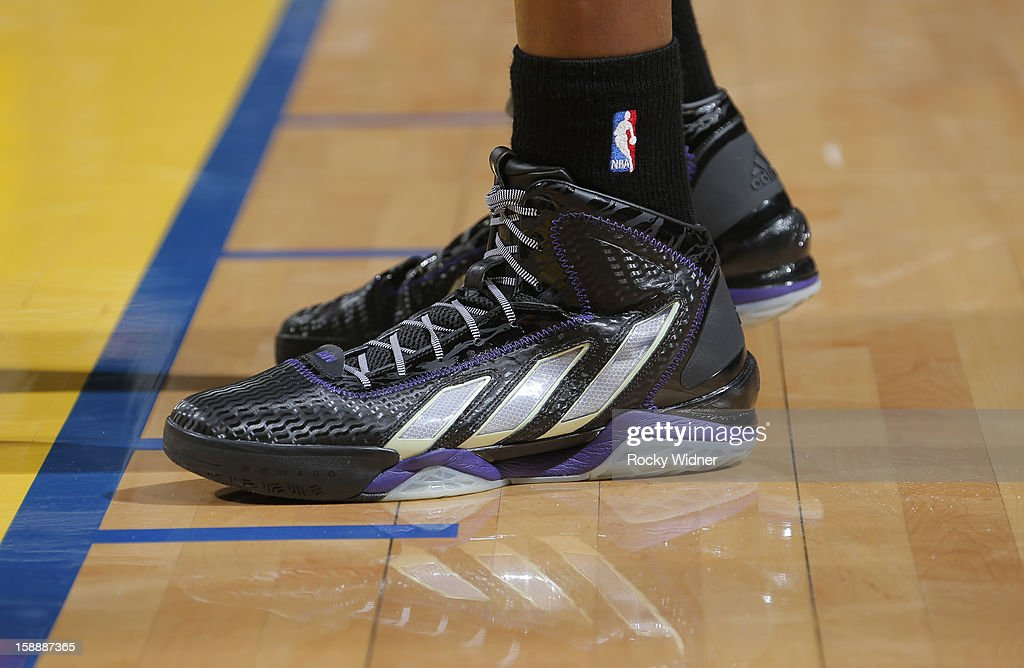 The shoes belonging to Dwight Howard #12 of the Los Angeles Lakers in a game against the Golden State Warriors on December 22, 2012 at Oracle Arena in Oakland, California.