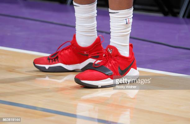 The shoes belonging to Ed Davis of the Portland Trail Blazers in a game against the Sacramento Kings on October 9 2017 at Golden 1 Center in...