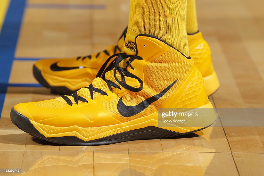 The shoes belonging to Festus Ezeli #31 of the Golden State Warriors in a game against the San Antonio Spurs on February 22, 2013 at Oracle Arena in Oakland, California.