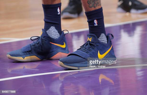 The shoes belonging to George Hill of the Utah Jazz in a game against the Sacramento Kings on March 5 2017 at Golden 1 Center in Sacramento...