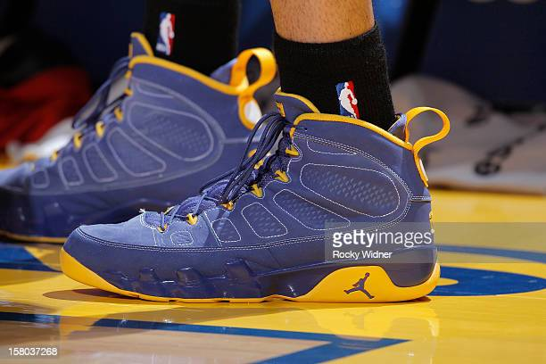 The shoes belonging to Gerald Green of the Indiana Pacers in a game against the Golden State Warriors on December 1 2012 at Oracle Arena in Oakland...