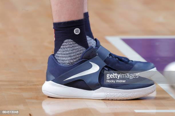 The shoes belonging to Gordon Hayward of the Utah Jazz in a game against the Sacramento Kings on March 29 2017 at Golden 1 Center in Sacramento...