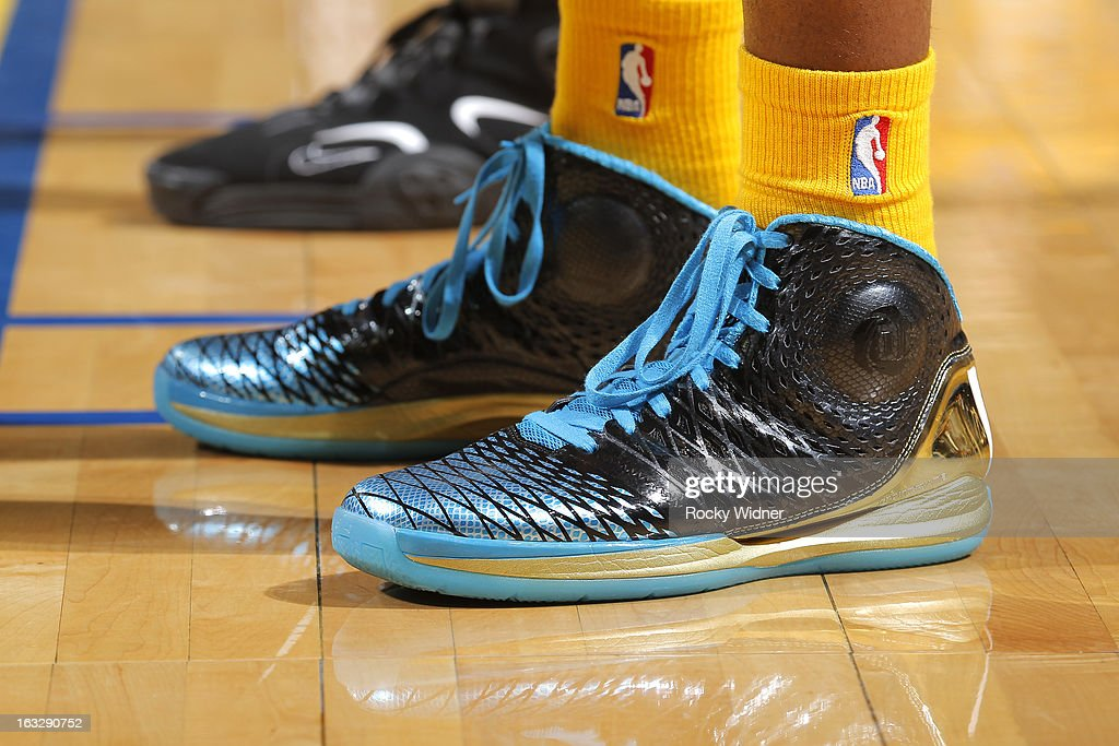 The shoes belonging to Harrison Barnes #40 of the Golden State Warriors in a game against the San Antonio Spurs on February 22, 2013 at Oracle Arena in Oakland, California.