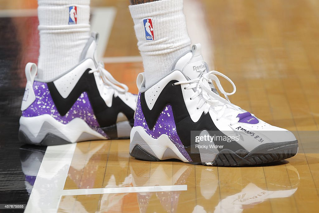 The shoes belonging to Isaiah Thomas #22 of the Sacramento Kings in a game against the Houston Rockets on December 15, 2013 at Sleep Train Arena in Sacramento, California.