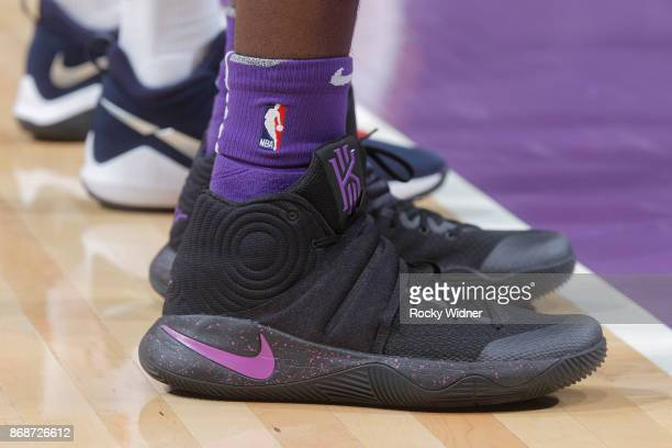 The shoes belonging to JaKarr Sampson of the Sacramento Kings in a game against the Washington Wizards on October 29 2017 at Golden 1 Center in...