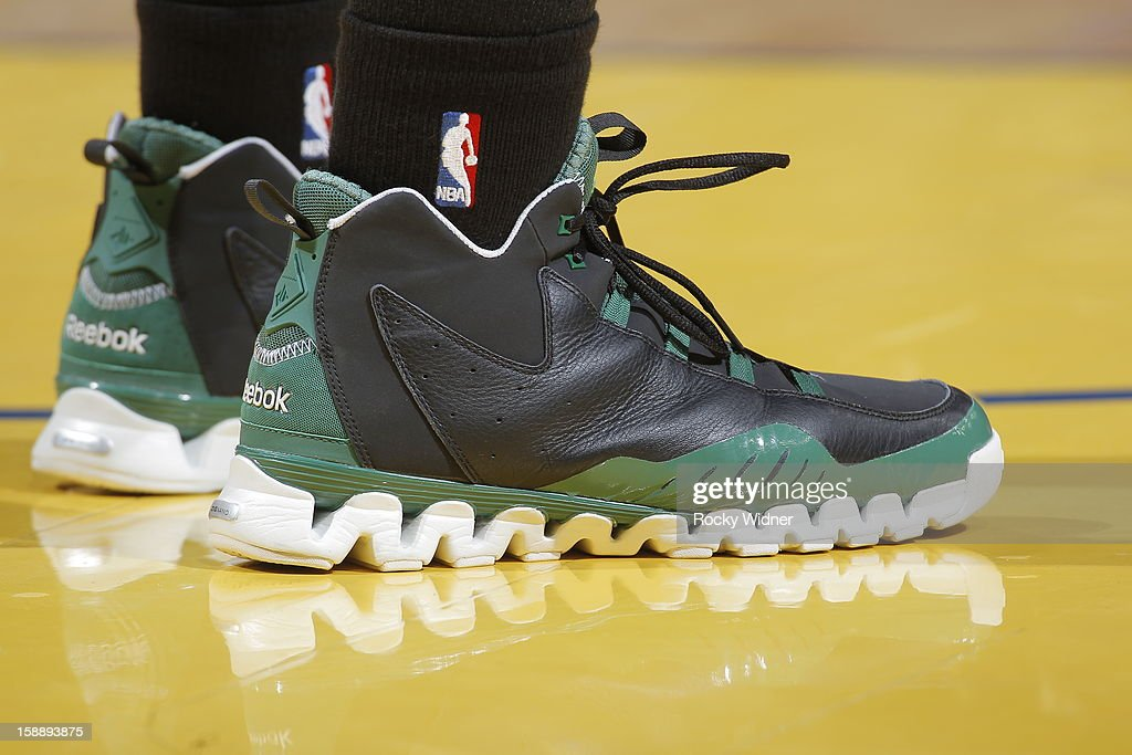 The shoes belonging to <a gi-track='captionPersonalityLinkClicked' href=/galleries/search?phrase=Jason+Terry&family=editorial&specificpeople=201734 ng-click='$event.stopPropagation()'>Jason Terry</a> #4 of the Boston Celtics in a game against the Golden State Warriors on December 29, 2012 at Oracle Arena in Oakland, California.